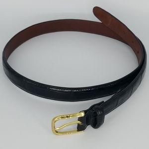 Brighton Embossed Black Calfskin Leather Belt 32
